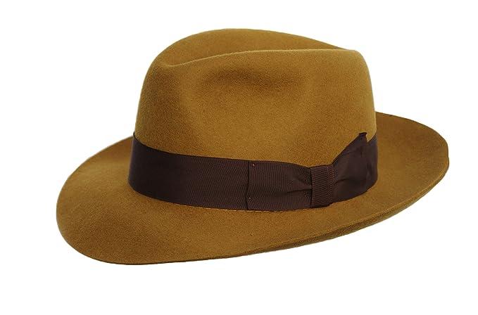 287b6783a Desconocido Hecho a Mano para Hombre Fedora Sombrero de Fieltro con Amplia  Visera 100% Lana  Amazon.es  Ropa y accesorios