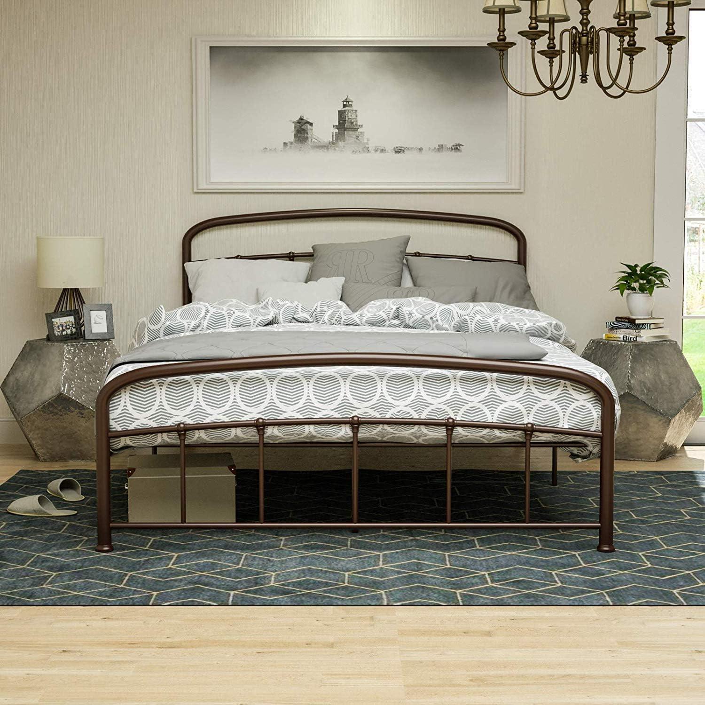 mecor Modern Cadre de lit en m/étal avec t/ête de lit incurv/ée lit Double 140 x 200 cm Cadre de lit avec sommier /à Lattes pour Chambre damis lit en Brun