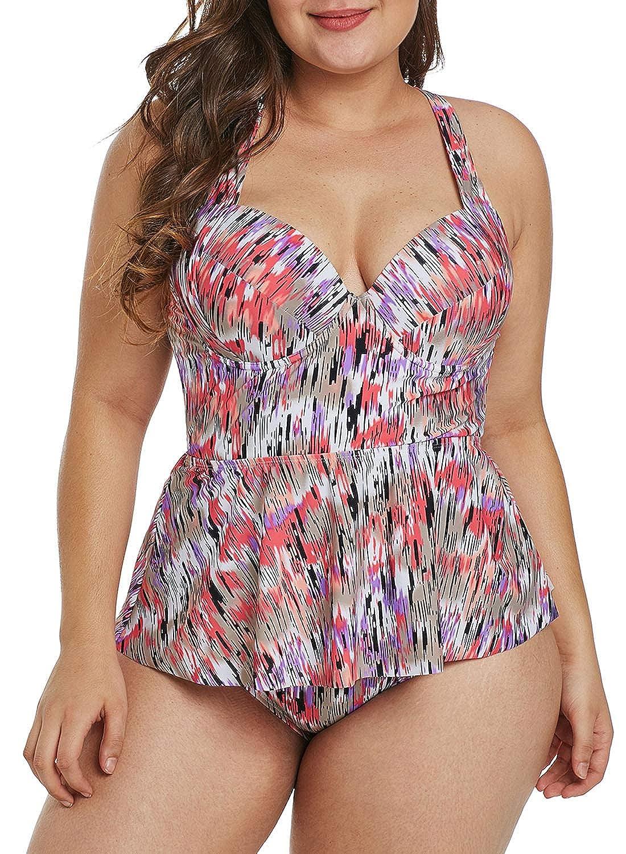 Sidefeel Women Plus Size Flowy Layered Two Piece Swimsuit HX410763 M-XXXL