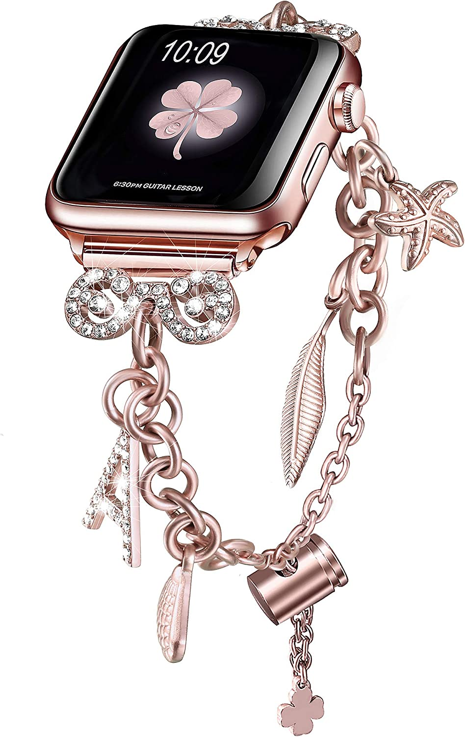 Secbolt Bling Bands Compatible with Apple Watch Bands 38mm 40mm iWatch SE Series 6/5/4/3/2/1, Women's Multi-Charm Adjustable Bracelet in Stainless Steel, Rose Gold