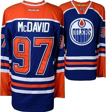 1d4596d5ac6 Connor Mcdavid Edmonton Oilers Autographed Blue Reebok Jersey with #1 Pick  2015 Inscription - Limited