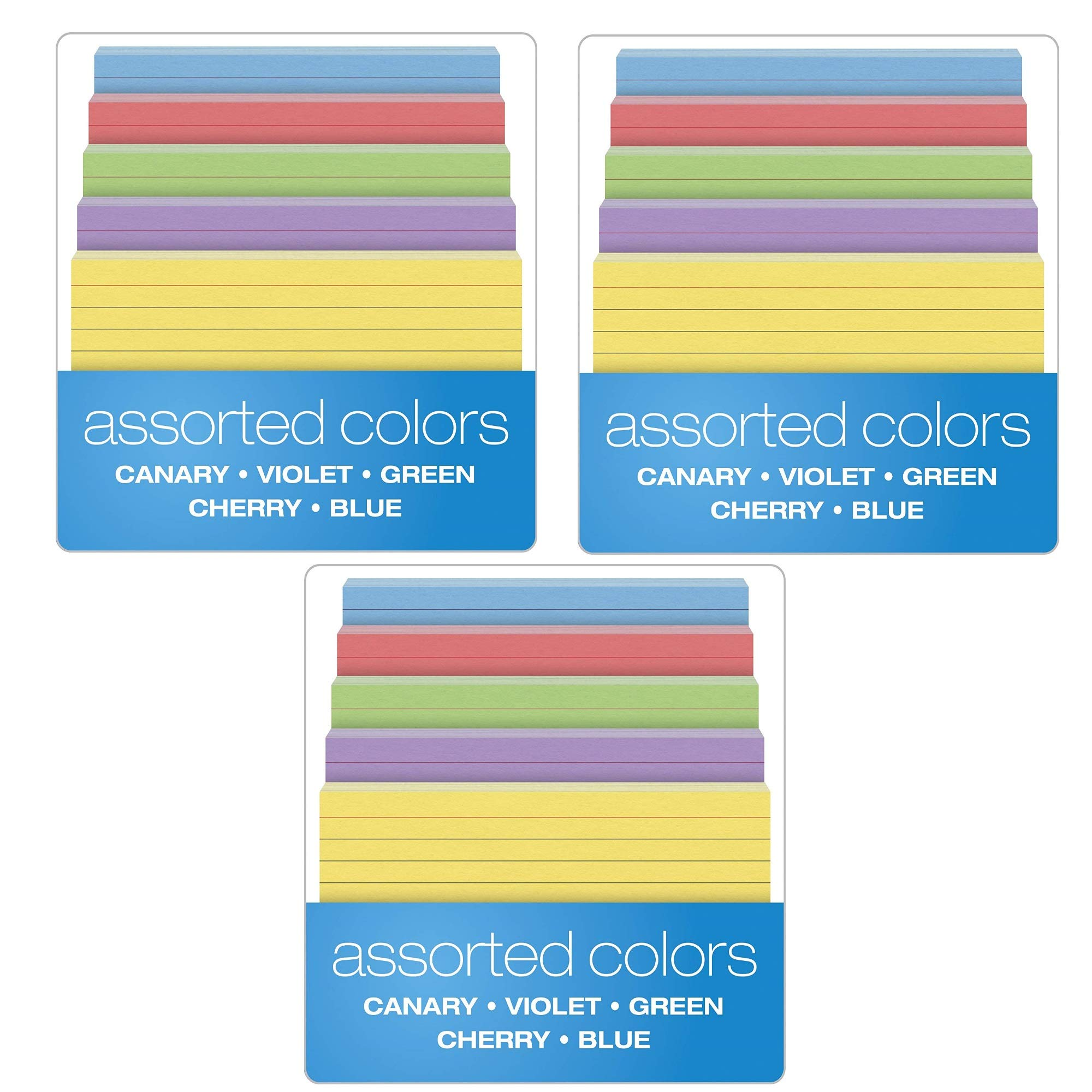 Oxford Ruled Color Index Cards, 4'' x 6'', Assorted Colors, 100 Per Pack (34610), 3 PACK