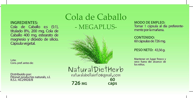 NaturalDietHerb- Cola de Caballo 726mg 60 caps / Retención de Líquidos / Formato práctico/ Una al día / Para dos meses: Amazon.es: Salud y cuidado personal