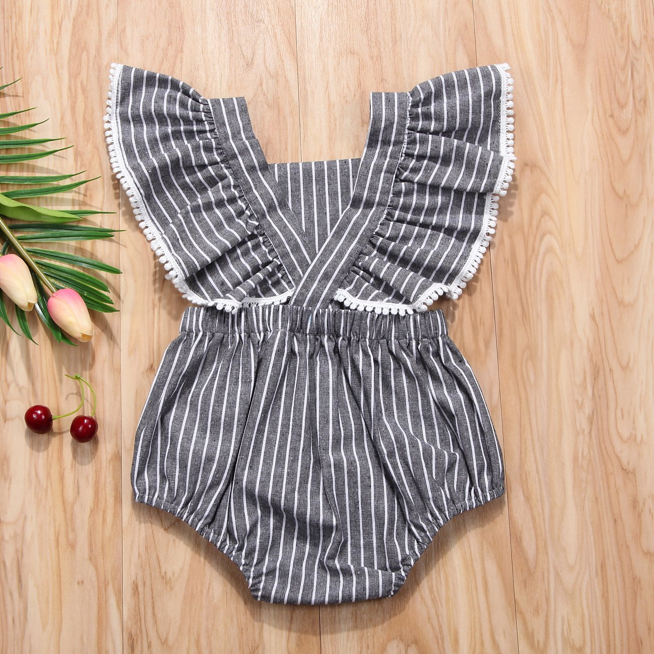 Listogether Summer Newborn Kids Baby Girls Cute Stripe Tassels Romper Bodysuit Jumpsuit Clothes Outfits