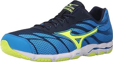 e2af8cf80e41 Mizuno Men's Wave Hitogami 3 Running Shoe, Dude Blue/Safety Yellow, ...