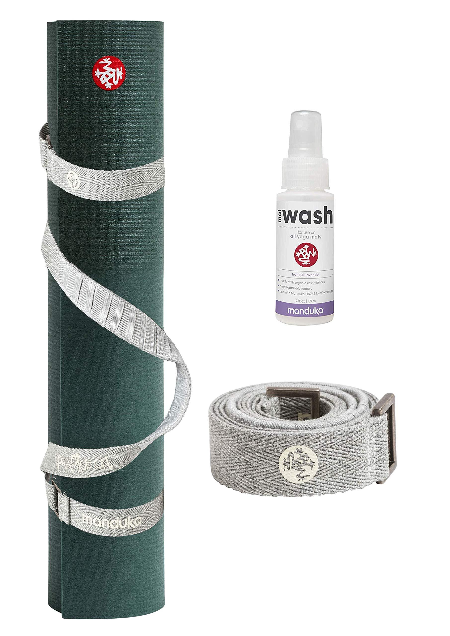 PlayBetter Manduka PRO Yoga and Pilates Mat Bundle | Includes Manduka Yoga Mat Strap & Lavender Mat Wash (Black Sage, Standard (71''))