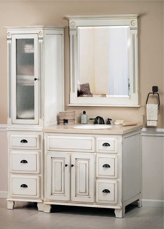 Amazon Com Sagehill Designs Vq3621d Victorian 36 Wood Vanity Cabinet Only Glazed White Kitchen Dining