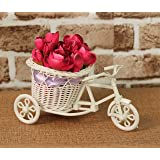 Kundi Artificial Peonies Flowers Pot with Cycle Shape Vase Basket Pot for Living Room Home Décor and Gifts OfficeDecor