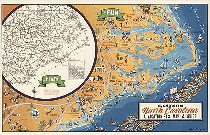 Amazon.com: Historic Map - Eastern North Carolina, A ...