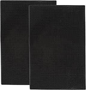 Highball & Chaser 2 Pack Bar Mat, 18in x 12in.8 cm Thick Durable and Stylish Bar Mat for Spills. Non Slip, Non-Toxic, Service Mat For Coffee, Bars, Restaurants and Counter Top