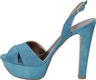 OLIMPIA Sandales Femme Cuir suédé Bleu