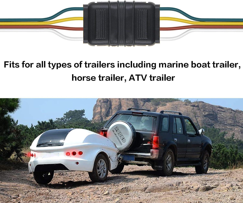 Boat Marine Auto Trailer 4 Pole Flat Female Trailer Connector for Car Side 6v 12