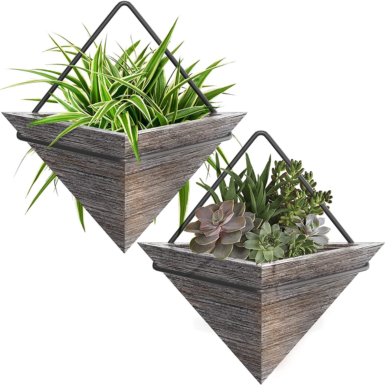 Wall Hanging Small 2 Planters for Succulent & Small Plants - Modern Indoor Hanging Triangle 2 Plant Holders in Rustic Wood - Wall Planters Décor for Home - Small Wall Mount Pots (2 Pack Rustic Grey)