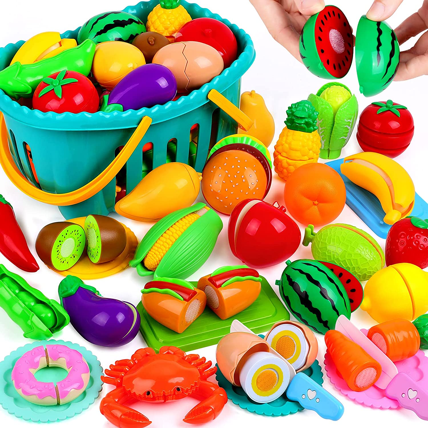 OCATO 70PCS Cutting Play Food Set for Kids Kitchen Toys Food Cutting Toys Fruits and Vegetables with Storage Basket Fake Food Pretend Play Kitchen Accessories Toys for Toddlers Boys Girls Xmas Gifts