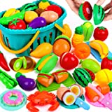 OCATO 70PCS Cutting Play Food Set for Kids Kitchen Toys Food Cutting Toys Fruits and Vegetables with Storage Basket Fake Food