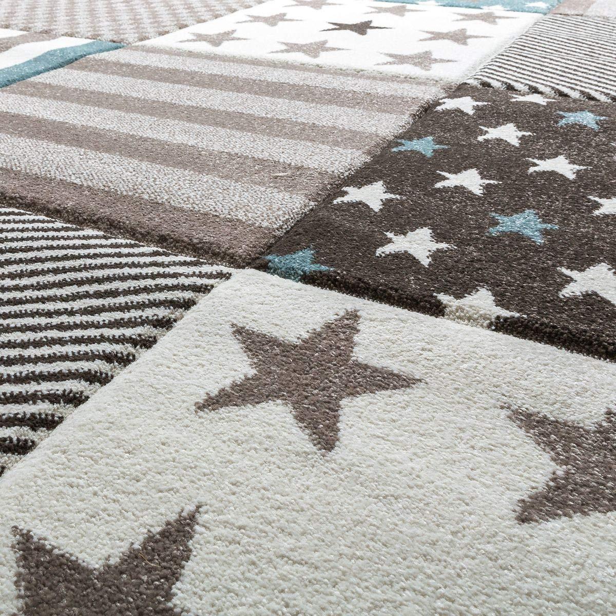 T&T Design Kinder Teppich Teppich Teppich Moderner Spielteppich Kariert Sterne Pastell Töne In Blau Creme, Größe 140x200 cm B07HL9HP85 Teppiche & Lufer db51fa