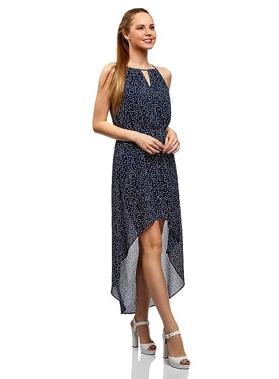 oodji Ultra Damen Kleid aus Leichtem Stoff mit Asymmetrischem Saum:  Amazon.de: Bekleidung