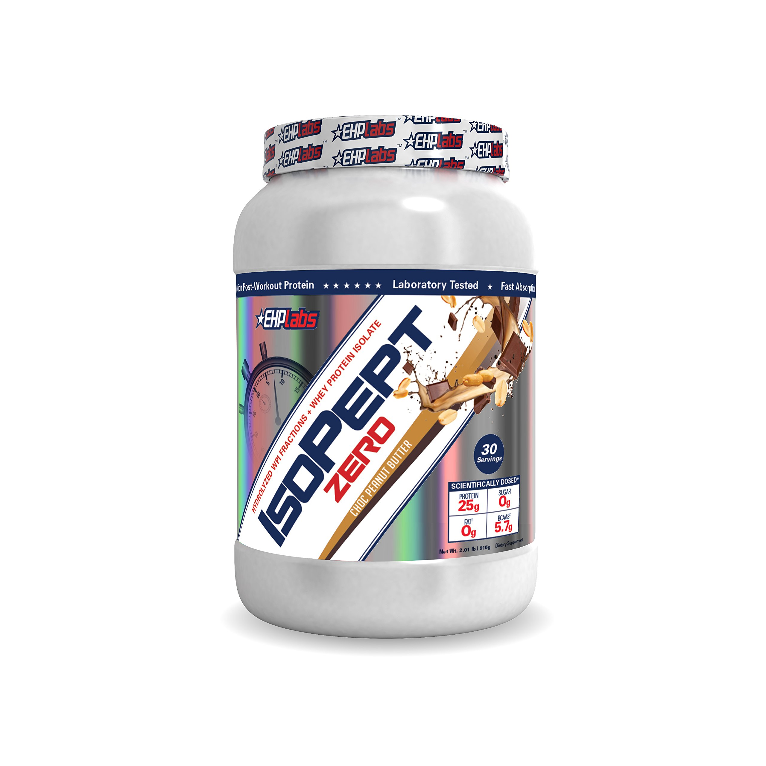 EHP Labs IsoPept Zero Chocolate Peanut Butter (2lbs) Hydrolized WPI Fractions + Whey Protein Isolate, 25g of Protein Per Serving, 0 Sugar, 0 Fat, 5.7g of BCAAs - 30 Servings by EHP Labs