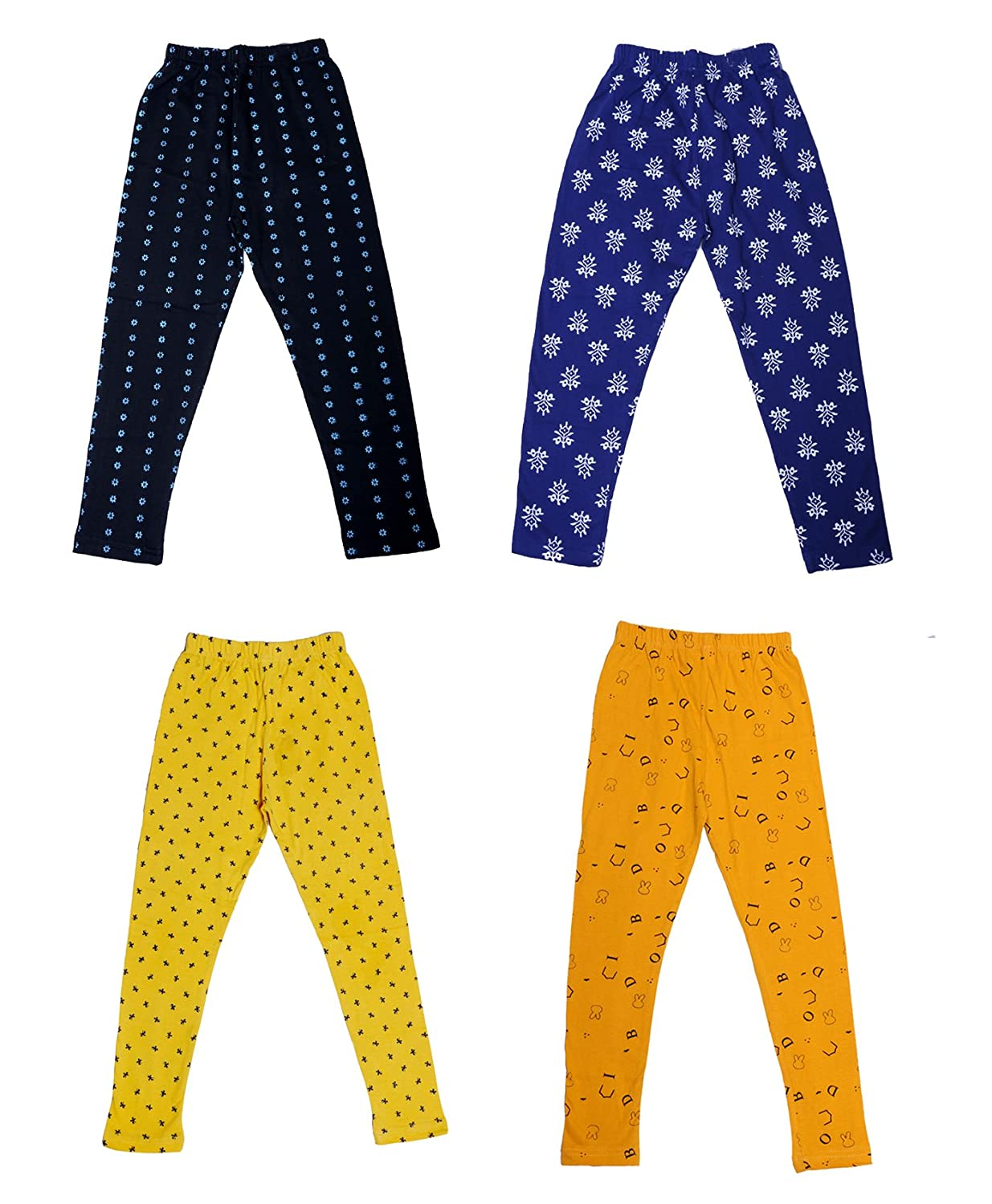 Pack of 4 Indistar Girls Super Soft and Stylish Cotton Printed Churidar Legging Pants