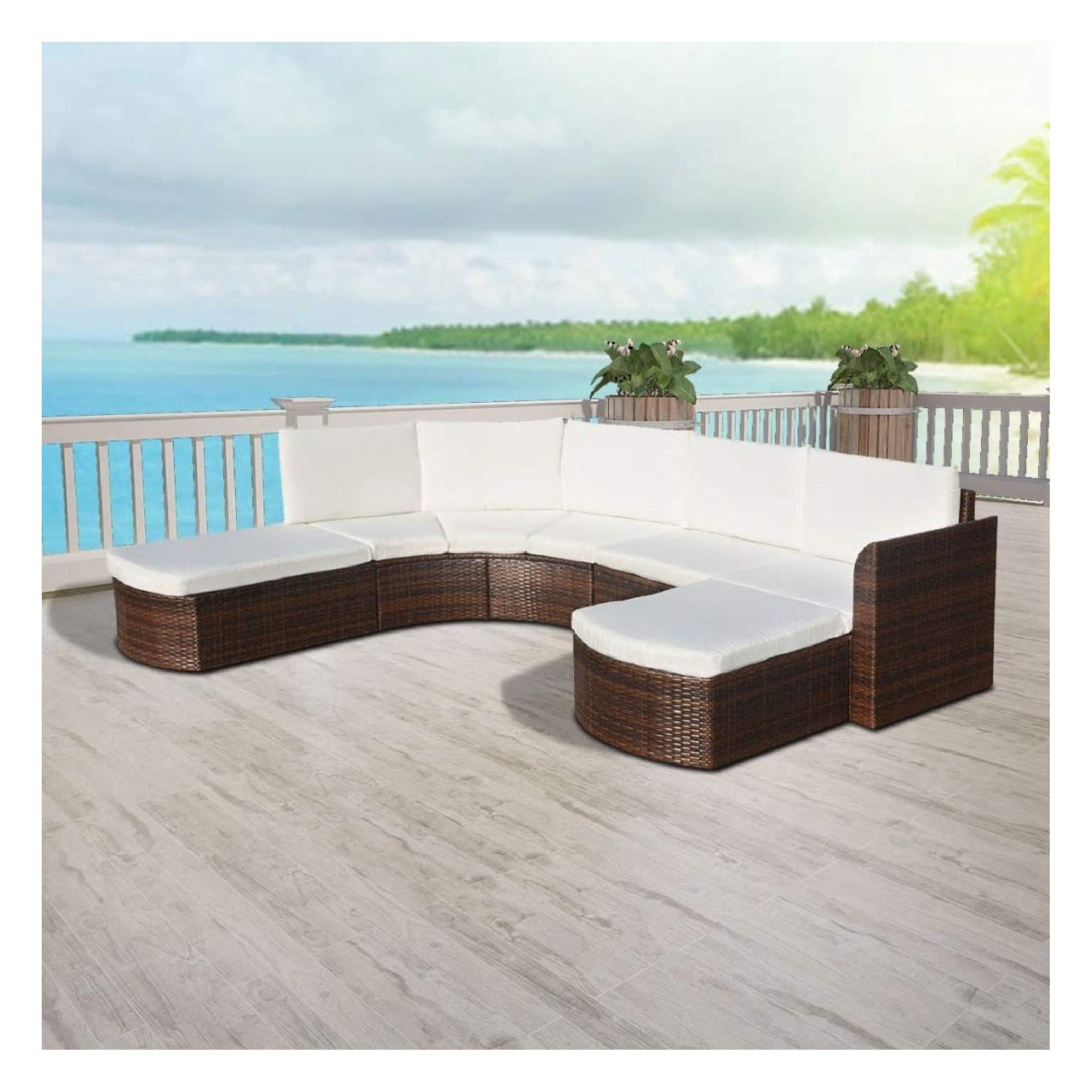 HEATAPPLY Outdoor Furniture Set, 4 Piece Garden Lounge Set with Cushions Poly Rattan Brown by HEATAPPLY