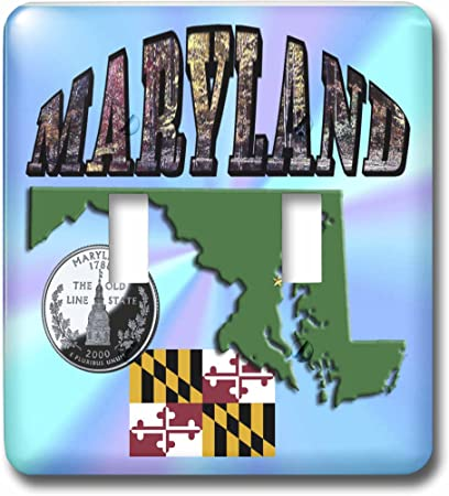 Flag Quarter and Picture Text of Maryland Toggle Switch 3dRose lsp/_55456/_2 State Map