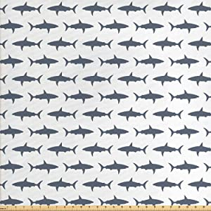 Ambesonne Sea Animals Fabric by The Yard, Sharks Swimming Horizontal Silhouettes Powerful Dangerous Wild Life, Decorative Fabric for Upholstery and Home Accents, 2 Yards, Pale Blue