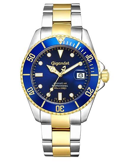 Gigandet Reloj de Hombre Automático Sea Ground Reloj de Buceo Analógico Correa de Acero Azul Oro G2-001: Gigandet: Amazon.es: Relojes