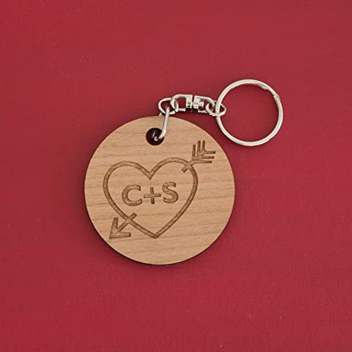 d5d4049079 Image Unavailable. Image not available for. Colour: Personalised valentines  love heart & arrow wooden key ring