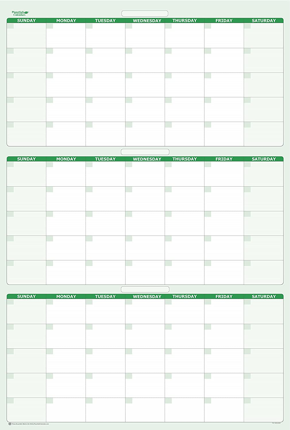 """90-Day Dry and Wet Erasable Calendars by PlanetSafe Calendars. Best in It's Class. Non-ghosting, Non Staining (Vertical 48"""" x 32"""", Earth Green)"""