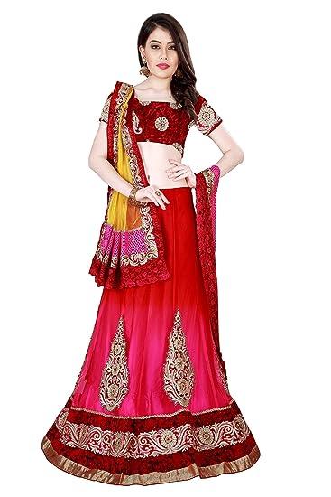 406421ba2c33a0 Mahotsav Embroidered Net Satin Lehenga Saree In Red