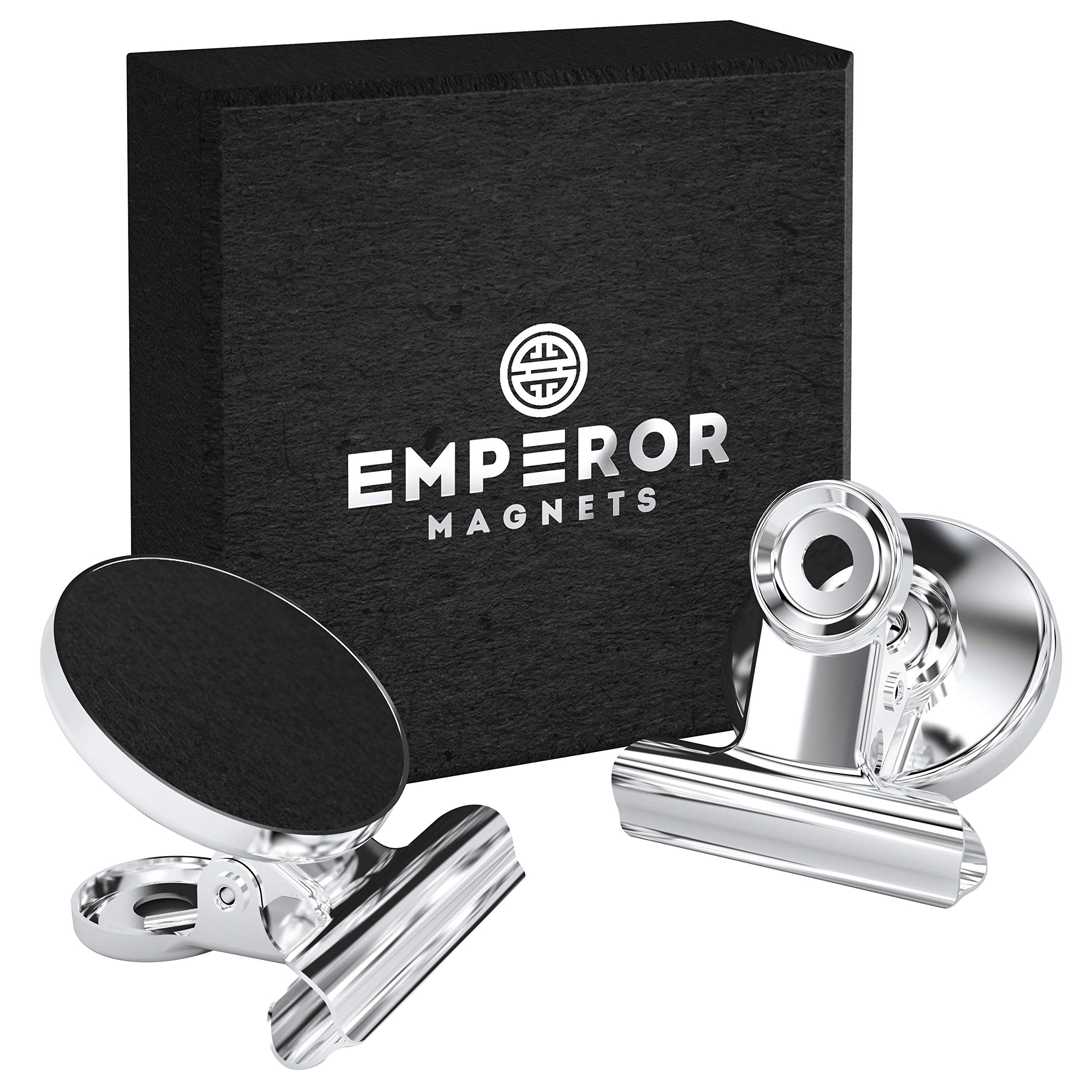 Emperor Magnets - Strong Refrigerator Magnets | Mini Powerful Fridge Magnets | Small Round Kitchen Magnet Hook Clips | Heavy Duty Metal Silver Finish Ideal For Office Whiteboard, Dry Erase Board