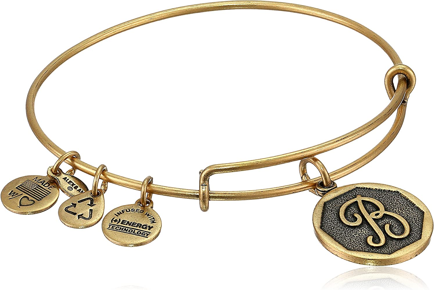 Expandable Bangle in Yellow Tone Brass with Initial Q Symbol Charm Bracelet