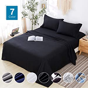 Agedate 4 Piece Brushed Microfiber Bed Sheets Set, Deep Pocket Bed Sheets Queen, Hypoallergenic, Easy to Care, Fade, Stain and Wrinkle Resistant, Queen Size, Black