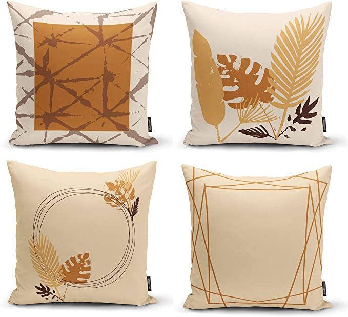 Amazon Com Ysahome Tropical Leaves Digital Print Pillow Cover Geometric Patterns Cushion Cover Exotic Palm Leaf Throw Pillow Case Asian Style Theme Decorative Accent Pillow 18x18 Inches Set Of 4