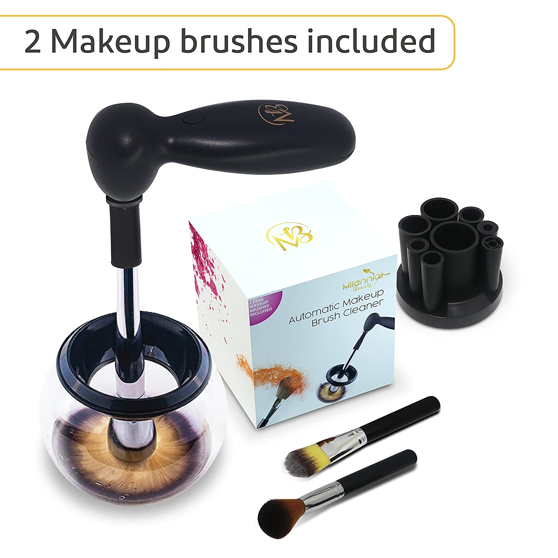 Limpiador Brochas Maquillaje | Kit de Limpieza en Seco Para Cepillos Profesional | 2 Brochas Incluidas | Limpia Todas los Pinceles en Segundos | Makeup ...