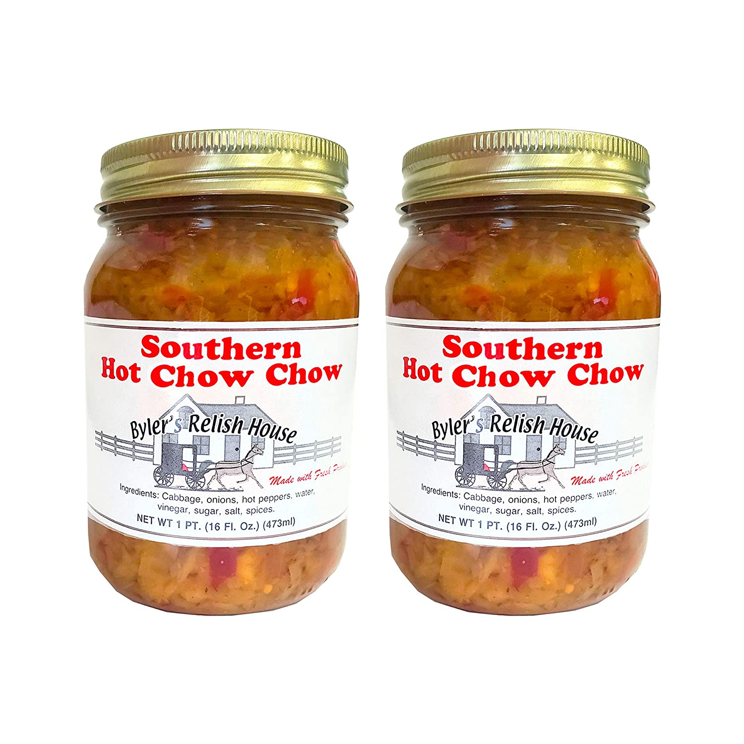 Southern Style Hot Chow Chow - Two 16oz Jars