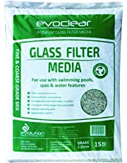 Pool Sand Replacement Glass Filter Media by Evoclear: Reduce Water, Swimming Pool & Spa Chemical & Pump Power Costs. Sustainable - Made With Recycled Glass. Easy to Handle -15kg Bags of 1-2 mm Single Grade Mix. Perfect for Hot Tubs & Jacuzzis Too.