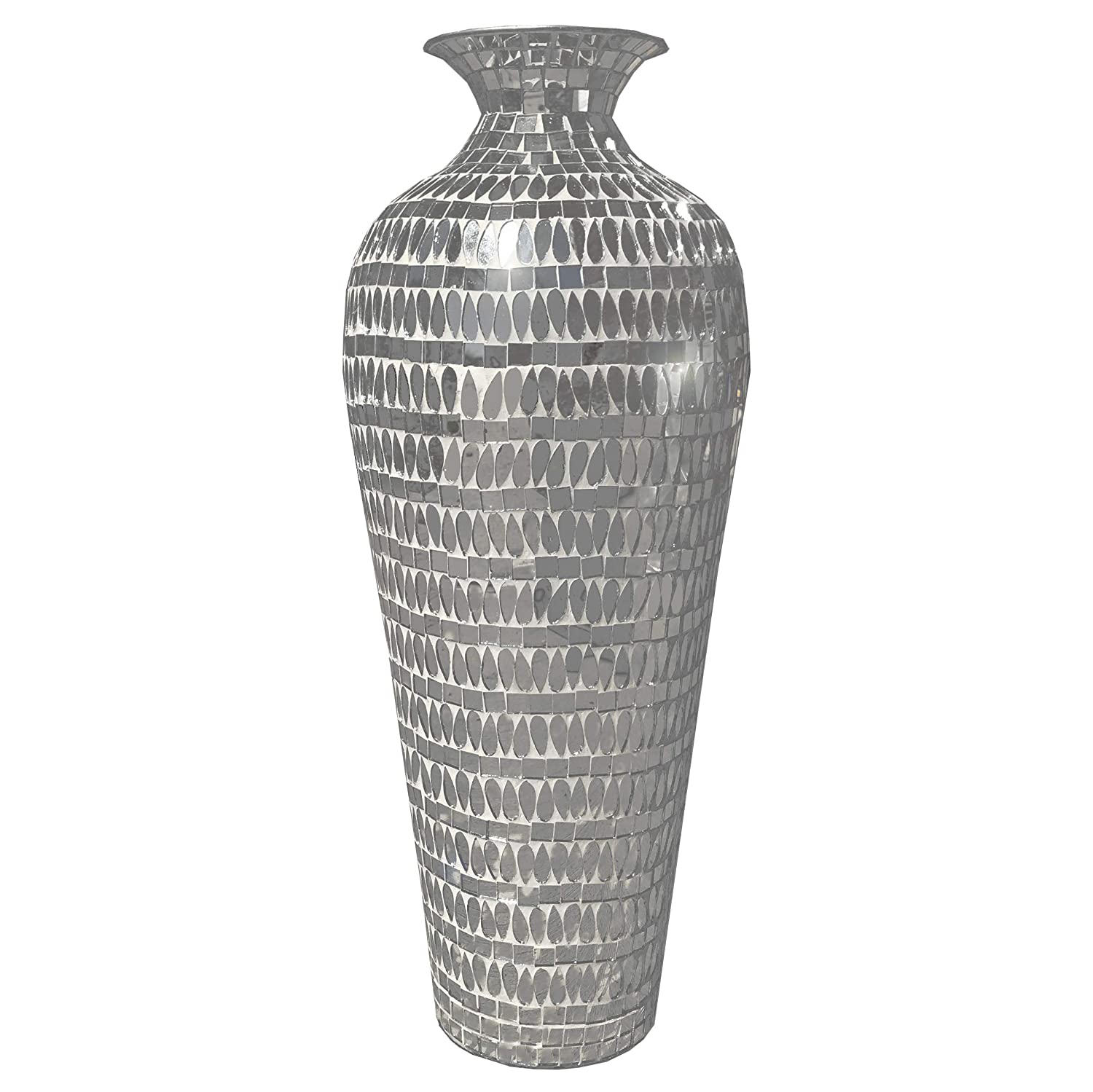 DecorShore Bella Palacio Collection Decorative Mosaic Vase - Tall 20 in. x 6 in. Home Decor Geometric Pattern Metal Floor Vase with Mirrored Glass Mosaic in Silver