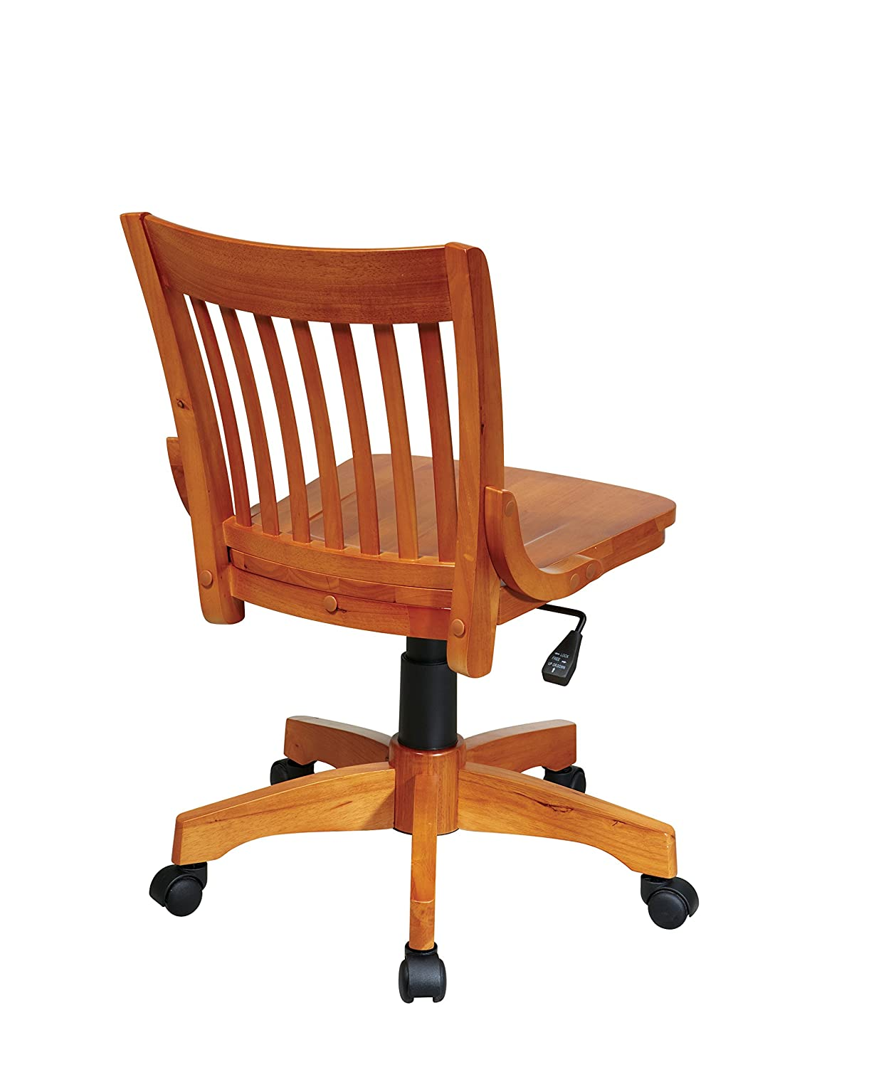 Office Star Deluxe Armless Wood Bankers Desk Chair With