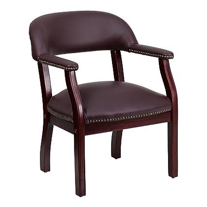 amazon com flash furniture burgundy top grain leather conference