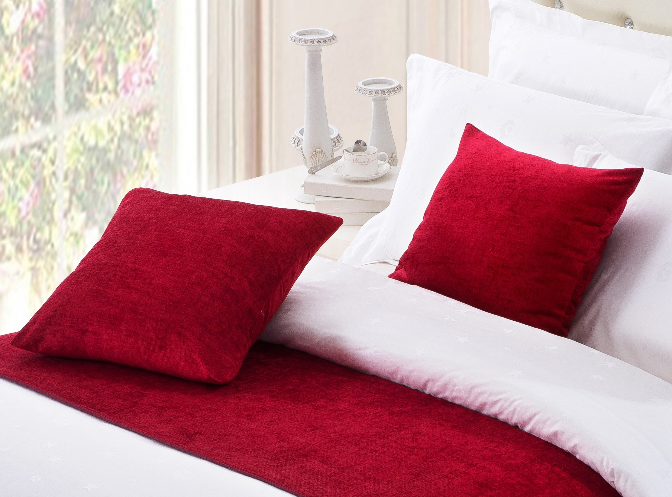 OSVINO 2 Pack European Style Solid Color Square 20''x20'' Chenille Throw Pillowcase Home Hotel Bed Sofa Pillow Sham Cushion Cover Décor Luxury Elegant, Red 20''x20''