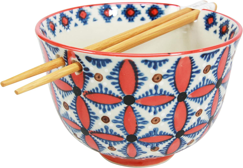 Ebros Gift Japanese Design Ceramic Ramen Noodles Bowl and Chopsticks Soup Rice Meal Set Ninja Star Shuriken Art (Shuriken Star)