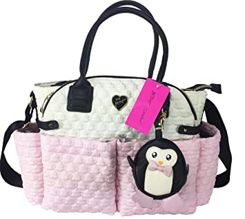 7629620522cc Image Unavailable. Image not available for. Color: Betsey Johnson Pink &  Eggshell White Baby Diaper Bag ...