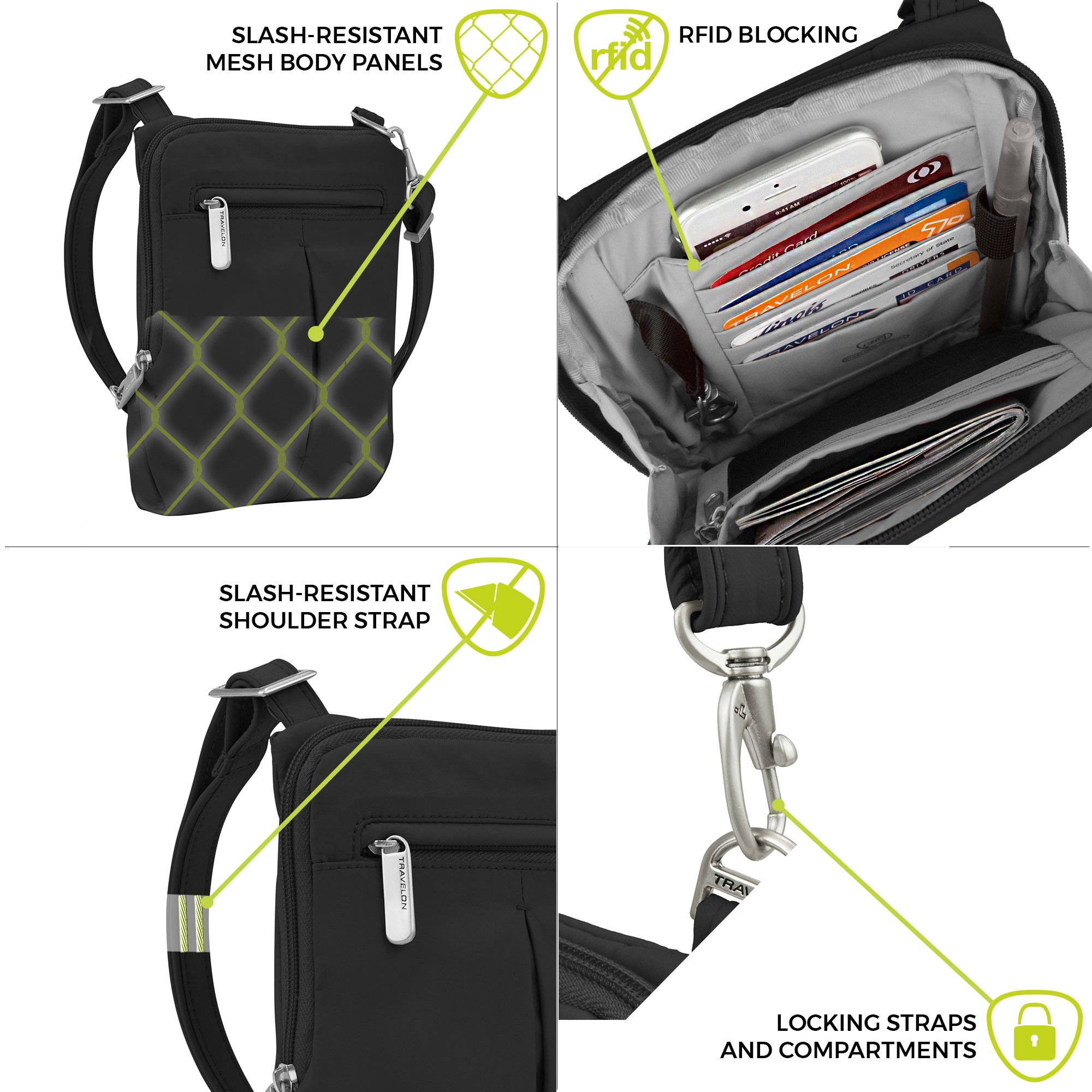 Travelon Anti-Theft Classic Light Mini Crossbody Bag, Black by Travelon (Image #3)