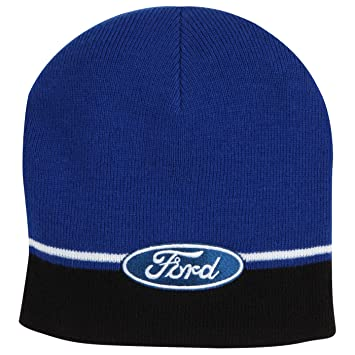 6dcec4f5363 The Ford Merchandise Store 1246149-00 Blue Black Striped Knit Beanie ...