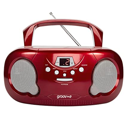 Portable Stereo CD Player with AM//FM Radio Boombox LED Display Aux Input