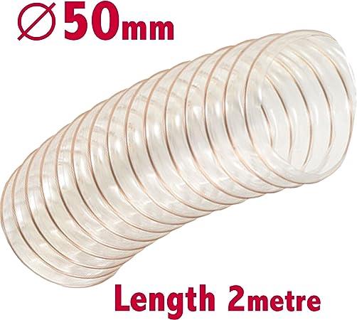 Conduit de ventilation pour menuiserie de sciure Diam/ètre interne de 50/mm 5/m de long Extraction d/émanations Tuyau flexible transparent pour extracteur de poussi/ère