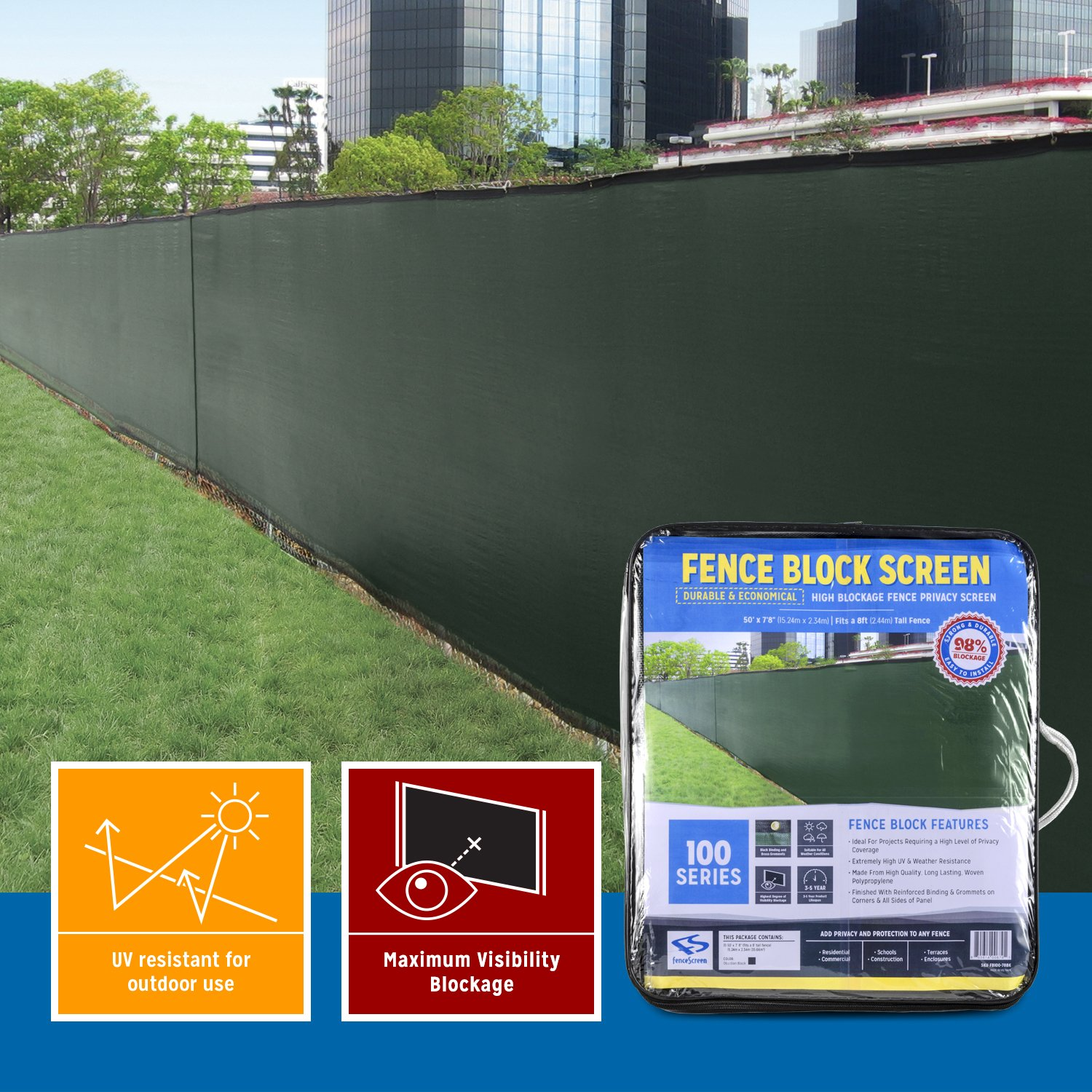 Extreme 98% Blockage Fence Privacy Screen (50-ft x 5'8ft, Midnight Green) by FenceScreen