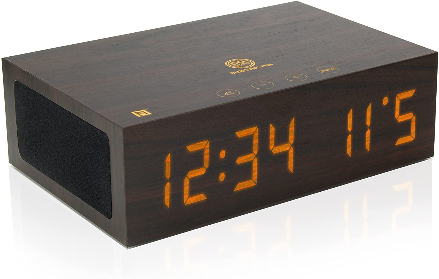 Bluetooth Digital Alarm Clock Speaker by GOgroove - TYM Wood Alarm Clock w/ Built in Microphone, LED Time & Date Display, Paired Streaming or AUX for Phones, MP3 Players, Tablets (Dark Stain with NFC)
