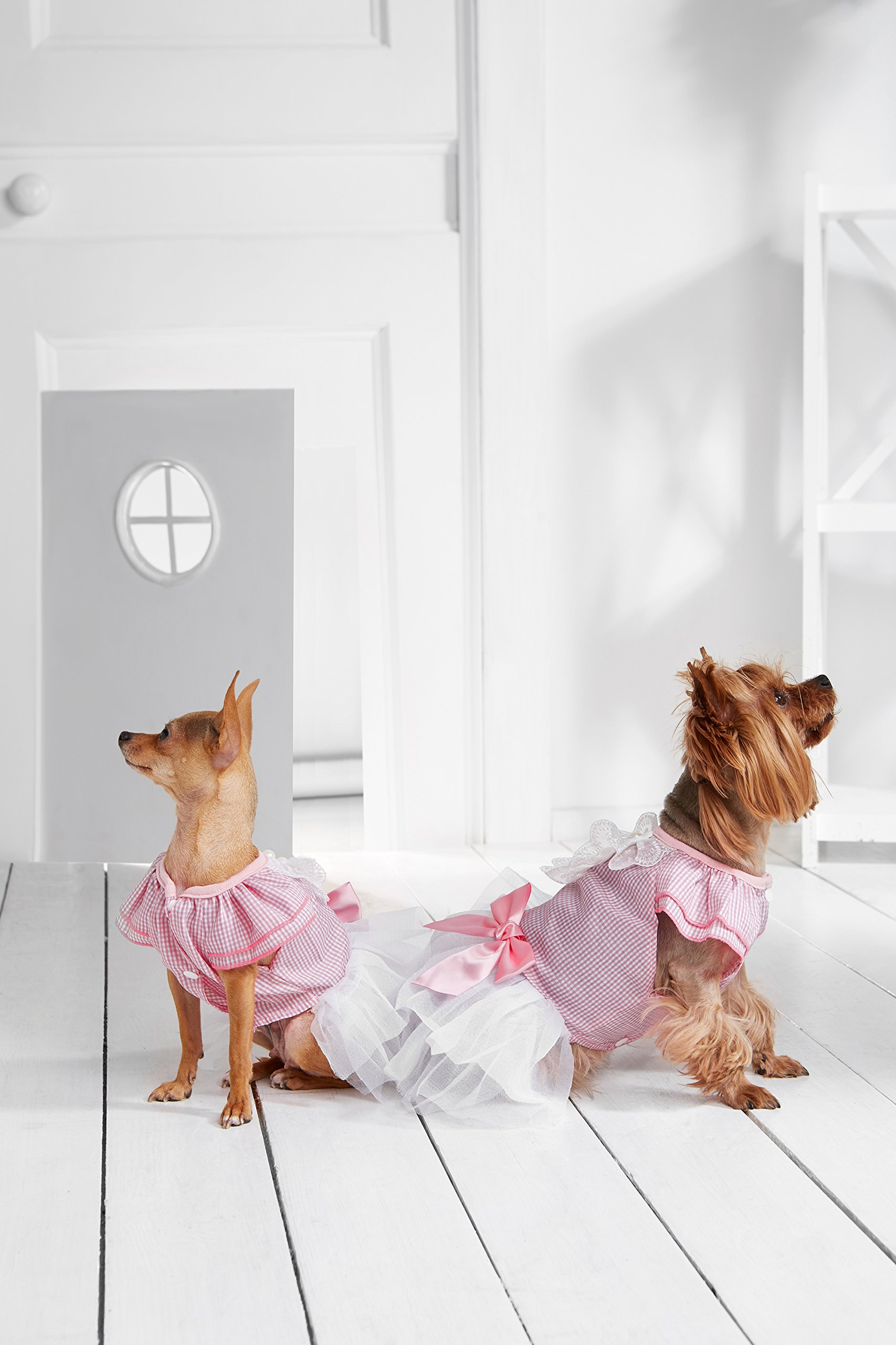 "Small Dog Gingham Bib Dress With Satin Bow Tiered Skirt Snaps Dogs Summer Outfit (Toy Plus: 10"" / 5-9 lbs, Pink, White)"